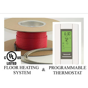 Electric Radiant Floor Heat Heating System with Aube Digital Floor Sensing Thermostat